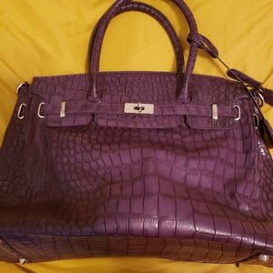 Handbags - Purple Faux Crocodile Purse
